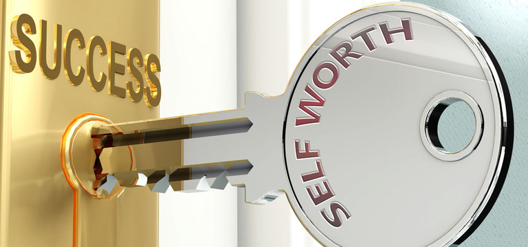Self worth and success - pictured as word Self worth on a key, to symbolize that Self worth helps achieving success and prosperity in life and business, 3d illustration