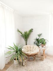 Photo sur Plexiglas Style Boho House with cozy boho ethnic interior with plants.