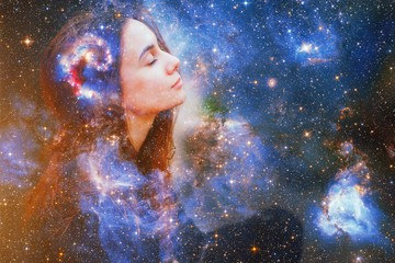 Fototapeta Double exposure portrait of a young woman close eye face with galaxy space inside head. Human inner peace, star light fire, life zen girl love, rpa ai concept. Elements of this image furnished by NASA obraz