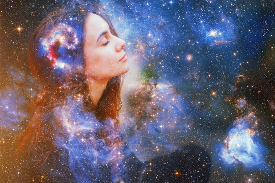 Double exposure portrait of a young woman close eye face with galaxy space inside head. Human inner peace, star light fire, life zen girl love, rpa ai concept. Elements of this image furnished by NASA