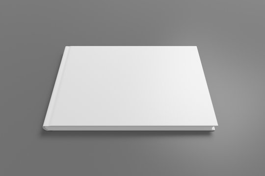 Blank horizontal book cover mock up on gray background. Wide angle side view in perspective . 3d illustration