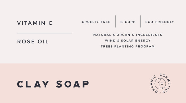 Minimal Label. Typographic modern vintage label, tag, sticker for natural brand, beauty packing. Retro design minimal label, tag of organic cosmetics, old school style, typography. Vector Illustration