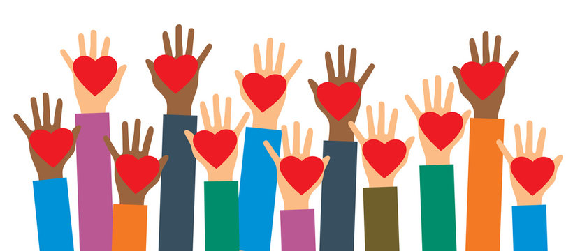 Hands of volunteers. Hands with heart in vector illustration. Charity, donation and volunteer work.Caring, love and a good hearted community support the poor, the homeless, the disabled.