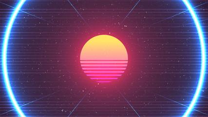 Cyberpunk background. 80s Sun vector illustration. Retro future neon glow. Blue round shape. Horizontal laser lines. Old TV effect. Grain texture. Sci-fi virtual space design. Cyberpunk Sun