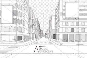 Architecture building construction perspective design,abstract modern urban street building line drawing. Fototapete