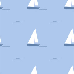 Cartoon Ship, Yacht. Colored Seamless Patterns
