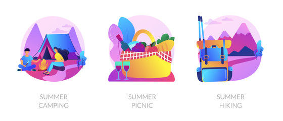 Outdoor leisure activity flat icons set. Backpacking and trekking holiday on nature. Summer camping, summer picnic, summer hiking metaphors. Vector isolated concept metaphor illustrations.