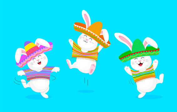 Mexican rabbit character set in vivid pocho and sombrero. Cute cartoon dancing.  Vector illustration isolated on blue background.