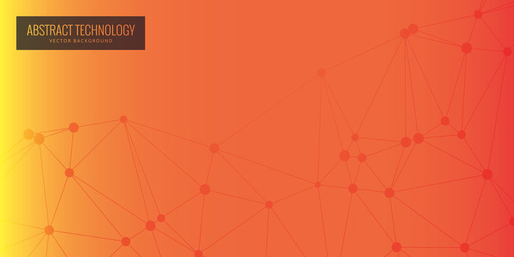 Vector banner design, network connection with lines and dots