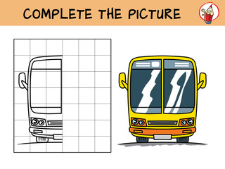 Complete the picture of a yellow bus. Copy the picture. Coloring book. Educational game for children. Cartoon vector illustration