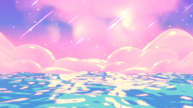 Japanese anime style blue and pink sea at night. 3d rendering picture.