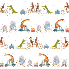 Beautiful seamless pattern for children with watercolor hand drawn cute animals on transport. Stock illustration.