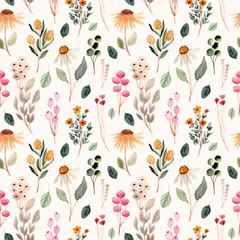 Fototapeta beautiful flower meadow watercolor seamless pattern obraz