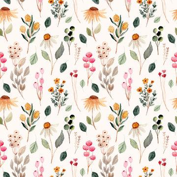 beautiful flower meadow watercolor seamless pattern