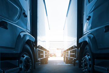 Obraz trucks on parking in warehouse, road freight industry delivery cargo logistics and transport - fototapety do salonu