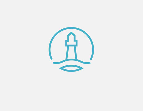 Creative blue round linear logo icon lighthouse and sea.
