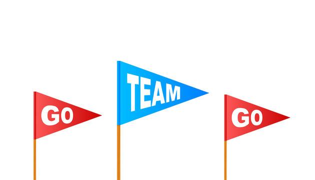 Go Team Triangle Banner. Go team in cartoon style. Vector stock illustration.