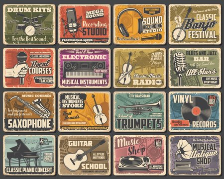 Music instruments shop, live concert and recording studio, vector retro posters. Classic music radio, guitar store, jazz fest saxophone and piano school, singer vocals courses and blues bar