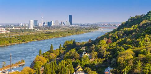 Danube river with bridges and skyline of Vienna, Austria