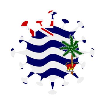 Flag of BIOT in virus shape. Country sign. Vector illustration.