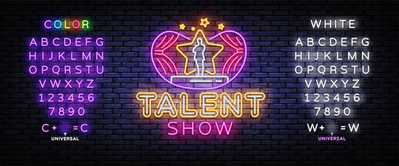 Talent Show neon sign vector. Talent Show Design template, light banner, night signboard, nightly bright advertising, light inscription. Vector illustration. Editing text neon sign