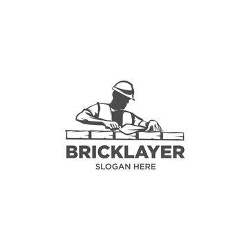 bricklayer masons work  silhouette logo