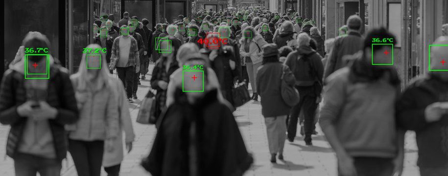 thermal cameras tracking crowd of people to protect their health. cctv monitoring and facial recognition concept
