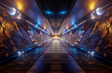 Orange and blue futuristic spaceship interior with window view on planet Earth 3d rendering
