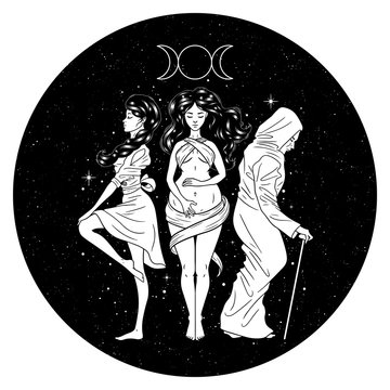 Three women figures, symbol of Triple goddess as Maiden, Mother and Crone, moon phases. Hekate, mythology, wicca, witchcraft. Vector illustration