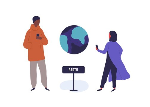 Man and woman visitors photographing Earth model use smartphone vector flat illustration