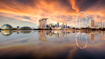 Fotomurales - Singapore skyline with skyscrapres - Marina bay