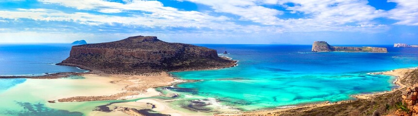 Most beautiful places and beaches of Crete island - Balos bay ( Gramvousa). Greece