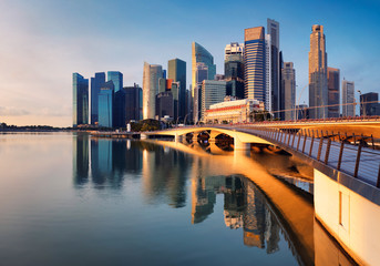 Fotomurales - Singapore city skyline panorama at sunrise