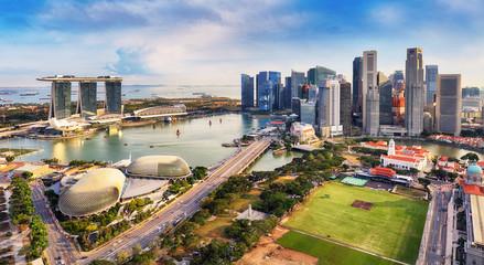 Fotomurales - Marina bay - Singapore Aerial view at day