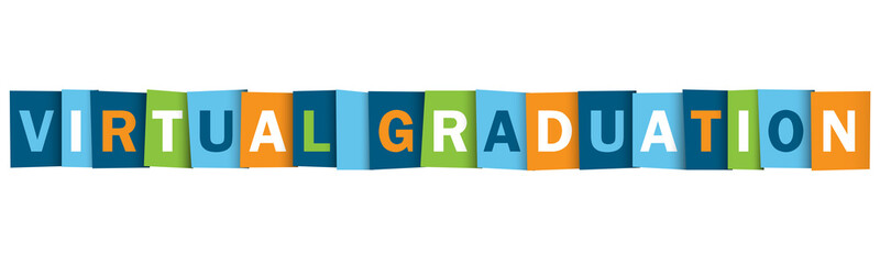 VIRTUAL GRADUATION colorful vector typography banner
