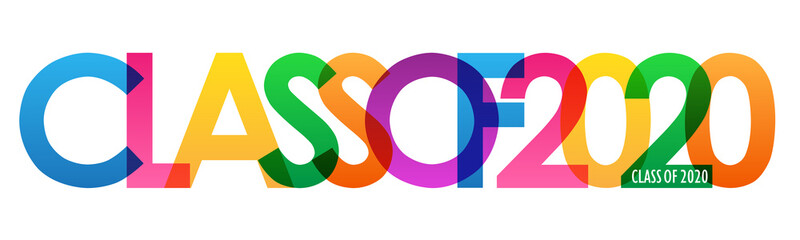 CLASS OF 2020 colorful vector typography banner