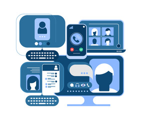 Online Chat and Communication Devices concept vector illustration. Blue monochrome design isolated on a white background. Computers, smartphones and electronic devices .
