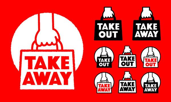テイクアウト(お持ち帰り)ロゴ アイコンセット Takeaway vector icons. Takeout  food in paper bag
