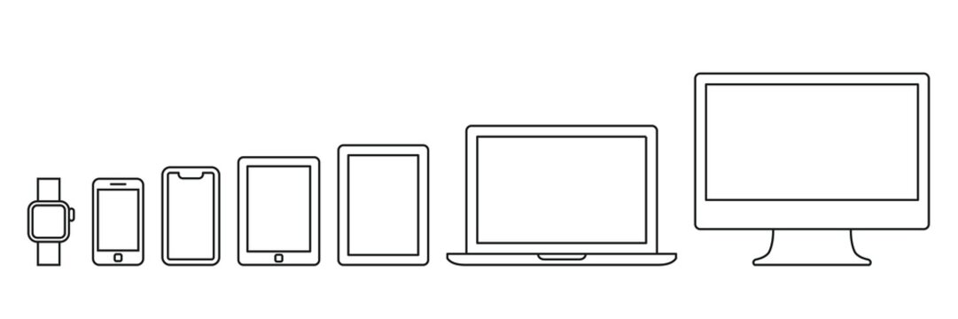 PC and smartphone icon set