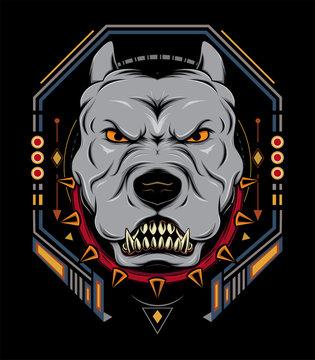 American pit bull modern logo. Dog design emblem template for a sport and e Sport team.
