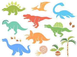 恐竜のイラストアイコンセット