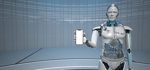 Fototapete - Humanoid Robot Medical Assistant Smarthone