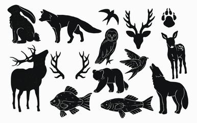 Canvas Prints Owls cartoon rustic nature icons , animals, wildlife, forest fauna. vintage artwork logo elements. bear, rabbit, deer antlers ,birds , owl and fishes. camping nature logo elements and resources for graphic design