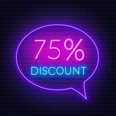 Poster Positive Typography 75 percent discount neon sign on brick wall background. Vector illustration