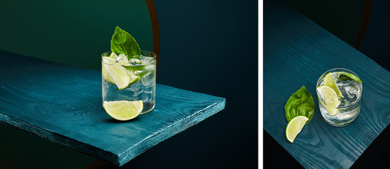 Collage of old fashioned glass with fresh drink, mint leaf and lime slice on blue wooden surface on green and blue geometric background