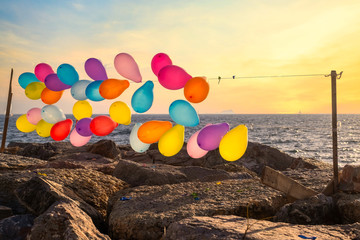 Colorful balloons on the string near the sea in Istanbul