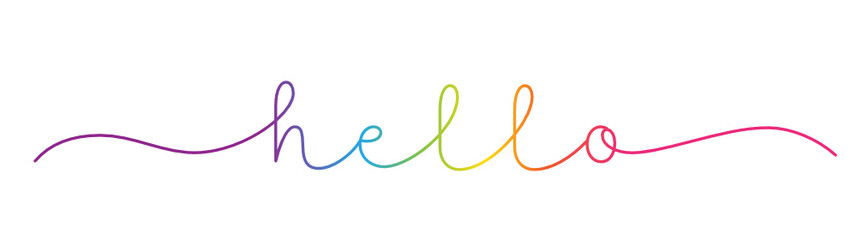 HELLO rainbow-colored vector monoline calligraphy banner with swashes