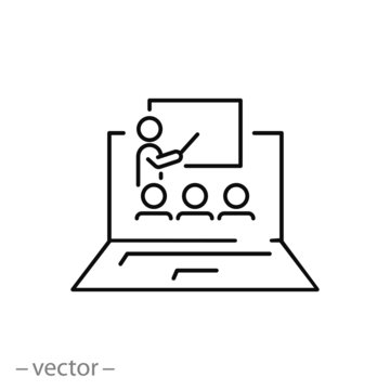 e-learning on pc, icon, distance workshop, online education, training course in computer, thin line web symbol on white background - editable stroke vector illustration eps10
