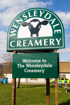 Editorial, Welcome Sign for the Wensleydale Creamery cheese manufacturer