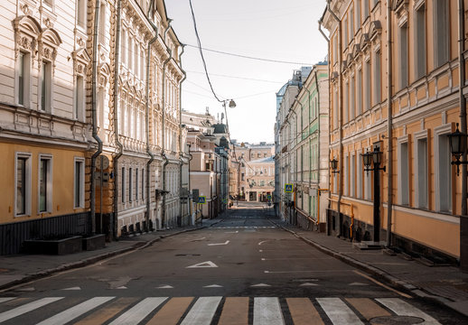 Empty Moscow streets during the quarantine lockdown in April 2020